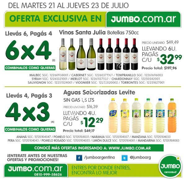 Ofertas en Jumbo.com.ar: 6×4 en vinos Santa Julia y 4×3 en