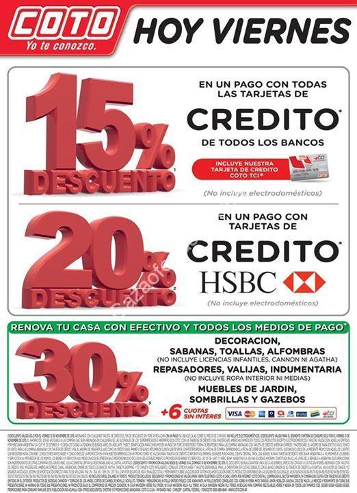 bcf62a89f Ofertas de fin de semana en Coto: descuentos y cuotas sin interés con  tarjetas de crédito de todos los bancos. Del 13 al 15 de noviembre