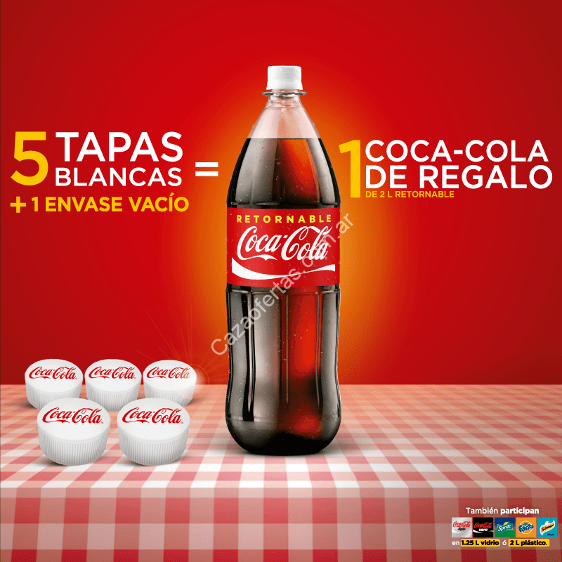 promo coca cola retornables junt 5 tapas blancas 1 envase vac o y llevate una coca de regalo. Black Bedroom Furniture Sets. Home Design Ideas