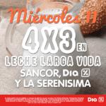 Promo Supermercados Día miércoles 11 de enero: 4×3 en leche larga vida Sancor, Día y La Serenísima